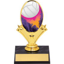 "Volleyball Oval Riser Trophy - 5 3/4"" - Black Base"