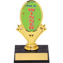 "Winner Oval Riser Trophy - 5 3/4""  - Black Base"