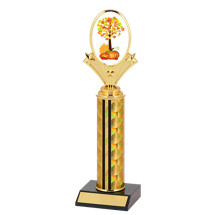"10-12"" Holographic Black & Gold Round Column Fall Festival Trophy"
