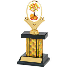 Small Holographic Fall Festival Black & Gold Column Trophy