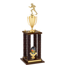 "28"" Fantasy Football Diamond Walnut-Tone Trophy with 4 Columns"