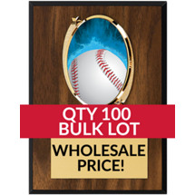 Buy in Bulk Baseball Plaque - Oval Emblem Plaque - Qty of 100