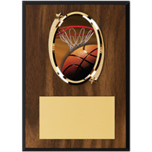 "Basketball Plaque - 5 x 7"" Oval Emblem Plaque"