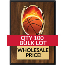 Buy in Bulk Basketball Plaque - Oval Emblem Plaque - Qty of 100