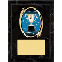 "Achievement Plaque - 5 x 7"" Oval Emblem Black Plaque"