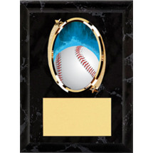 Baseball Plaque - Oval Emblem Black Plaque
