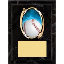"""Baseball Plaque - 5 x 7"""" Oval Emblem Black Plaque"""