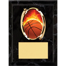 Basketball Plaque - Oval Emblem Black Plaque