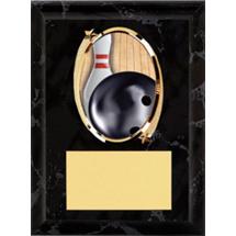 """Bowling Plaque - 5 x 7"""" Oval Emblem Black Plaque"""