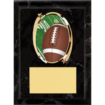 "Football Plaque - 5 x 7"" Oval Emblem Black Plaque"