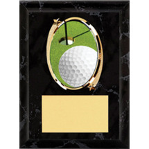 "Golf Plaque - 5 x 7"" Oval Emblem Black Plaque"