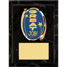 "Great Job Plaque - 5 x 7"" Oval Emblem Black Plaque"