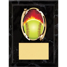 "Softball Plaque - 5 x 7"" Oval Emblem Black Plaque"