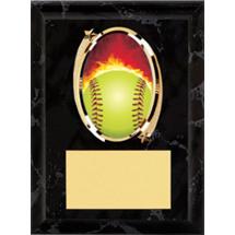 """Softball Plaque - 5 x 7"""" Oval Emblem Black Plaque"""