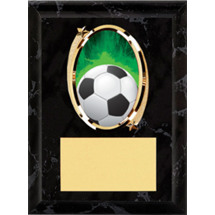 Soccer Plaque - Oval Emblem Black Plaque