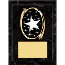 "Star Plaque - 5 x 7"" Oval Emblem Black Plaque"