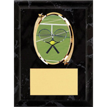 "Tennis Plaque - 5 x 7"" Oval Emblem Black Plaque"