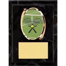 "Tennis Plaque - 5 x 7"" Oval Emblem Black Plaque"