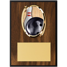 Bowling Plaque - Oval Emblem Wood Plaque