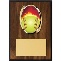 """Softball Plaque - 5 x 7"""" Oval Emblem Plaque"""