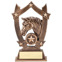 "6 1/4"" Antique Gold Tone Resin Horse Trophy"
