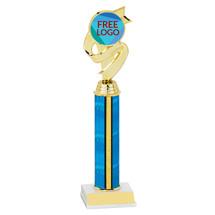 """10"""" Blue Trophy with Free Custom Logo Emblem"""