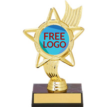 "6 1/4"" Holographic Star Award on a Black Marble-Tone Base with Free Custom Logo Emblem"