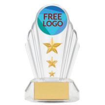"""7"""" Silhouette Clear Acrylic Free Custom Logo Emblem Trophy"""
