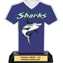 Blue Custom Logo Jersey Trophy