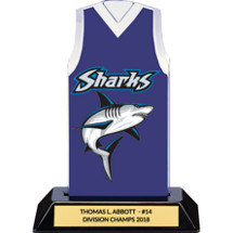 Blue Custom Logo Sleeveless Jersey Trophy