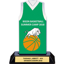 Green Custom Logo Sleeveless Jersey Trophy