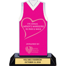 Pink Custom Logo Sleeveless Jersey Trophy