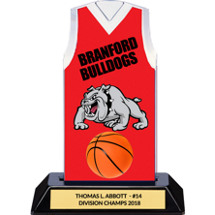 Red Custom Logo Sleeveless Jersey Trophy