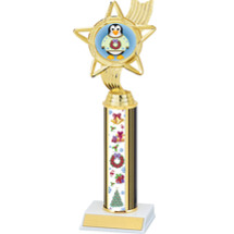 Colorful Christmas Trophy with Festive Penguin - 11 1/2 inches