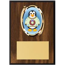 Oval Festive Penguin Emblem Plaque