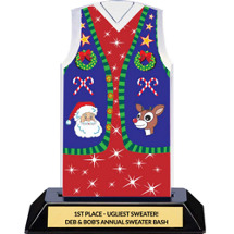 Christmas Sweater Vest Trophy - Ugly Red  Christmas Sweater Vest Award