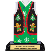 Christmas Sweater Vest Trophy - Ugly Green Christmas Sweater Vest Award